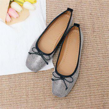 Heat Foiled Rhone Stone Bow Decor Flats - BLACK 39