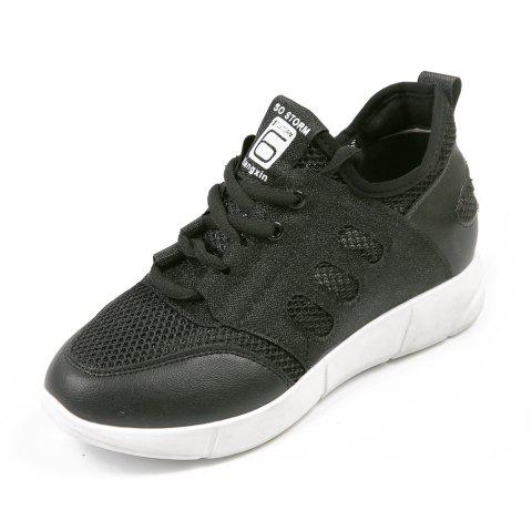 Lace Up Net Material Sneakers - BLACK 37
