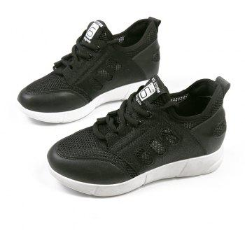 Lace Up Net Material Sneakers - BLACK 40