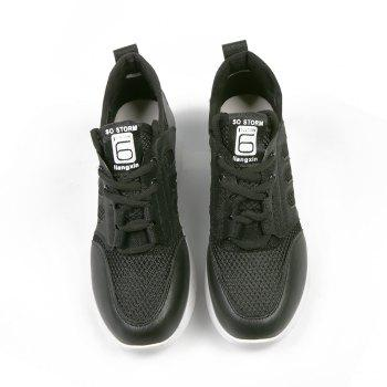 Lace Up Net Material Sneakers - BLACK 38