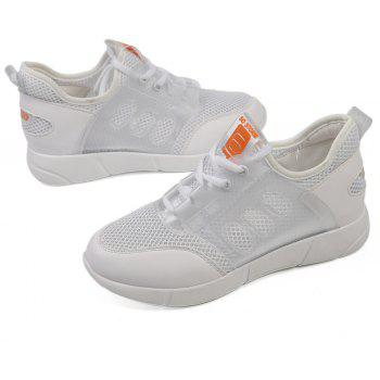 Lace Up Net Material Sneakers - WHITE 41