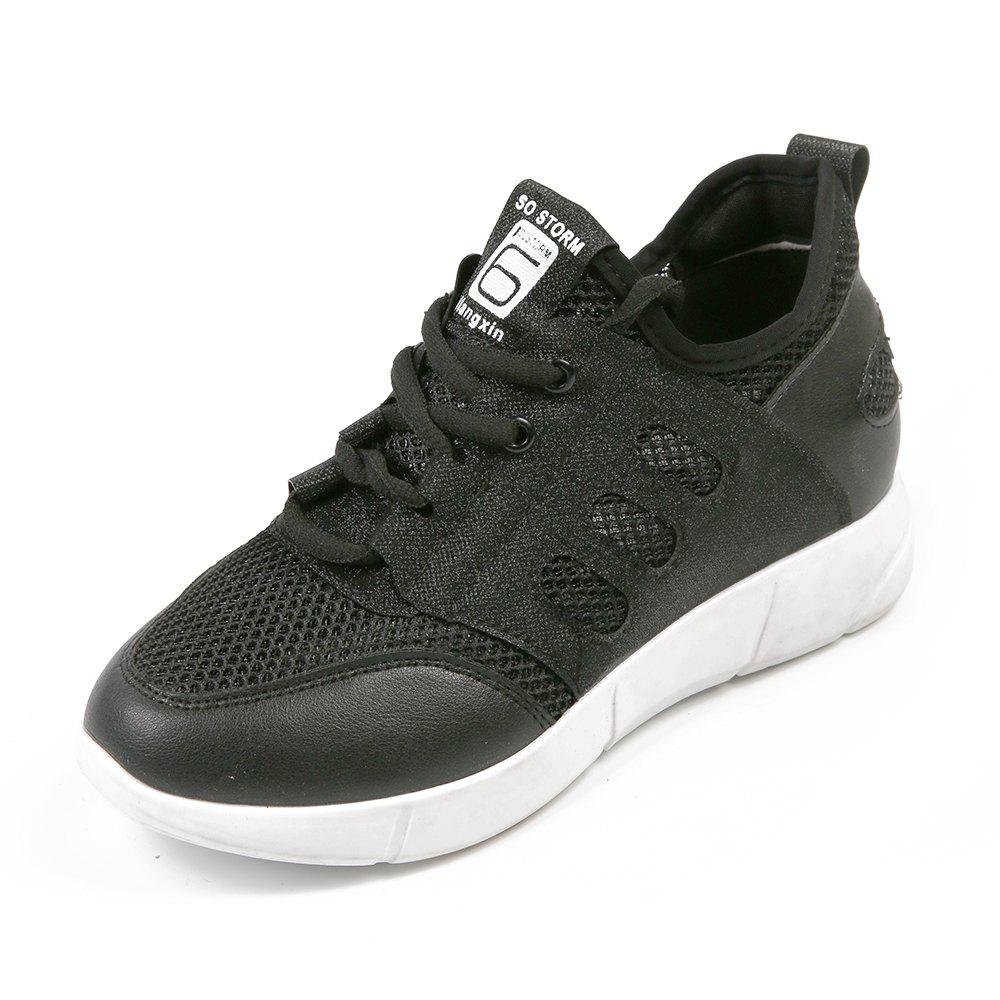 Lace Up Net Material Sneakers - BLACK 36
