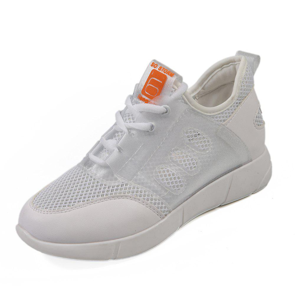 Lace Up Net Material Sneakers - WHITE 37