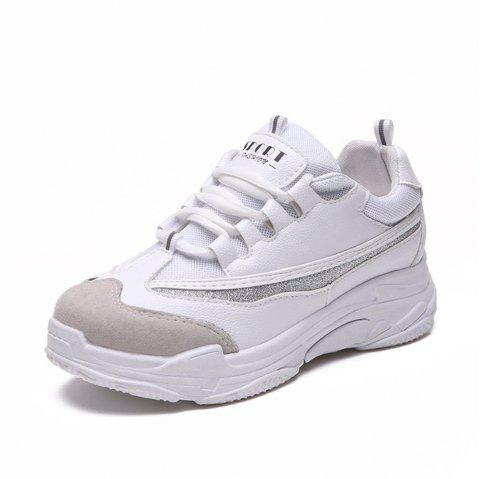 Lace Up Mutil Pu Sneaker Shoes - WHITE 38