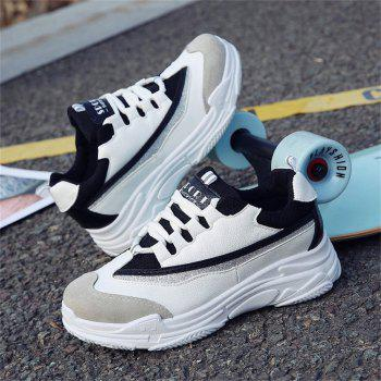 Lace Up Mutil Pu Sneaker Shoes - BLACK 36