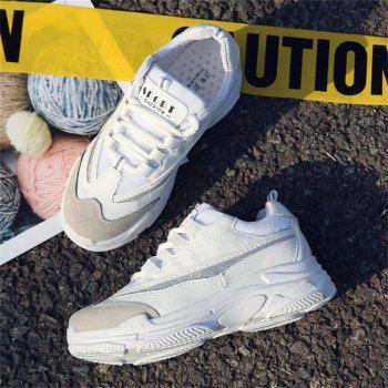 Lace Up Mutil Pu Sneaker Shoes - WHITE 35
