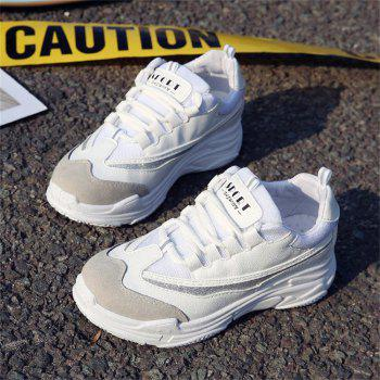 Lace Up Mutil Pu Sneaker Shoes - WHITE 36