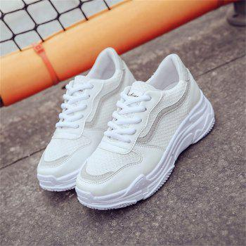 Lace Up Flatform Sneaker Shoes - WHITE 36