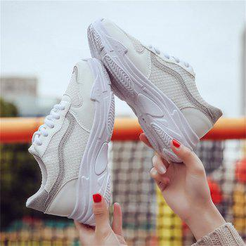 Lace Up Flatform Sneaker Shoes - WHITE 38