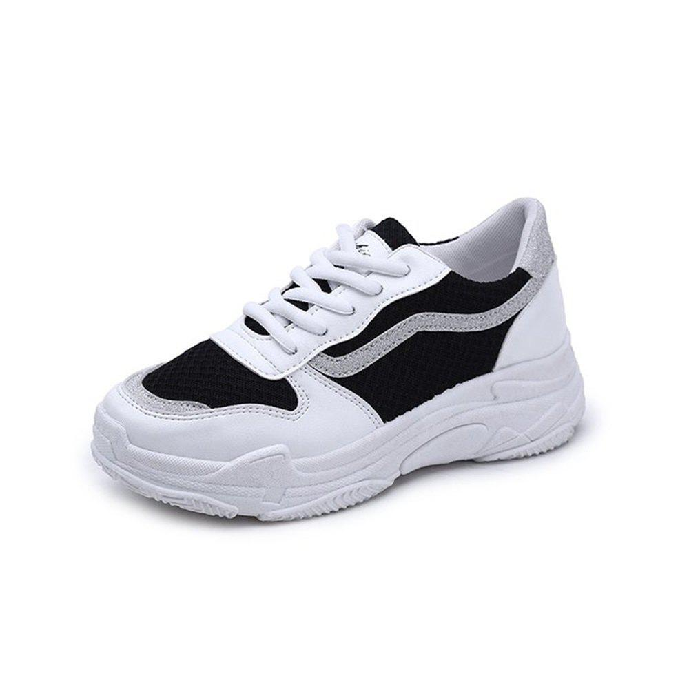 Lace Up Flatform Sneaker Shoes - BLACK 36