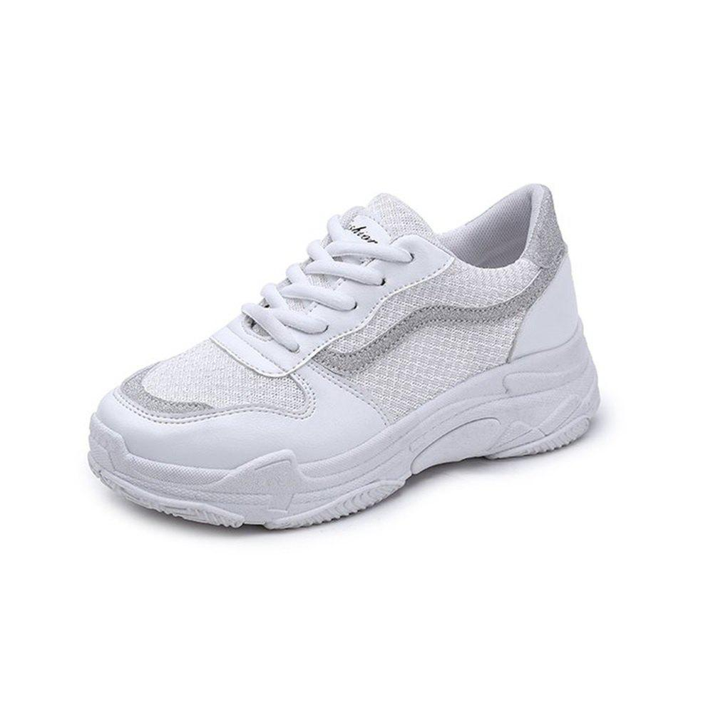 Lace Up Flatform Sneaker Shoes - WHITE 39