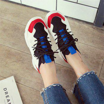 Breathable Mutil Flatform Sneakers - RED 37
