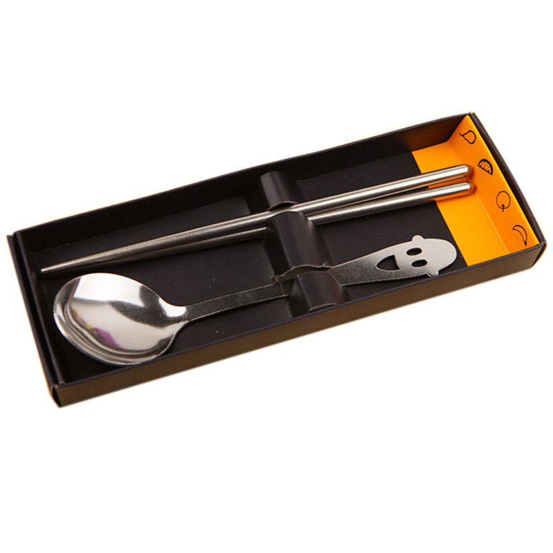 Фото Creative Fashion Smile Hollow Spoon Stainless Steel Chopsticks Cutlery Gift Set