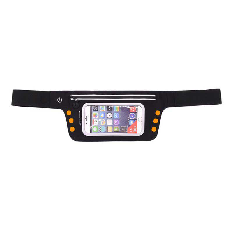LED Luminescence Waist Bag for Outdoor Sports Mountaineering Running - BEE YELLOW 5.5 INCHES DIAGONAL LENGTH