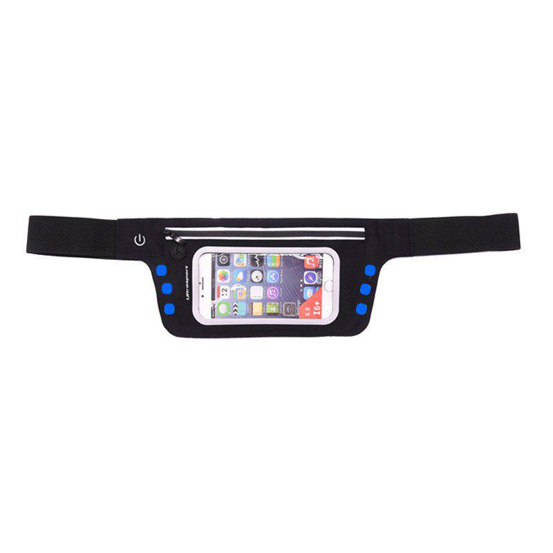 LED Luminescence Waist Bag for Outdoor Sports Mountaineering Running - OCEAN BLUE 4.7 INCHES DIAGONAL LENGTH