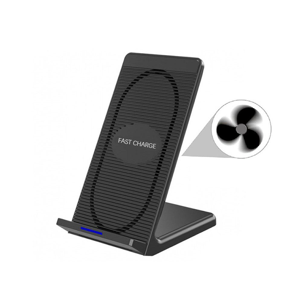 Cwxuan 10W Fast Wireless Charger Stand with Cooling Fan for Qi-devices - BLACK
