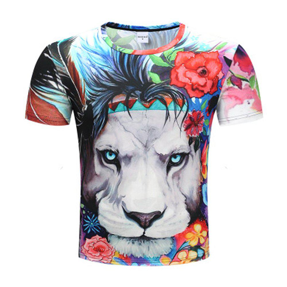 Leopard 3D Printed Short-Sleeved T-shirt - multicolor A XL