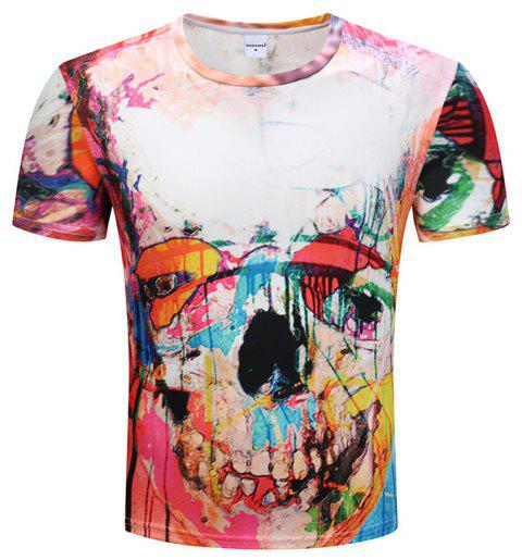 3D Printed Short-Sleeved T-shirt - multicolor A 2XL