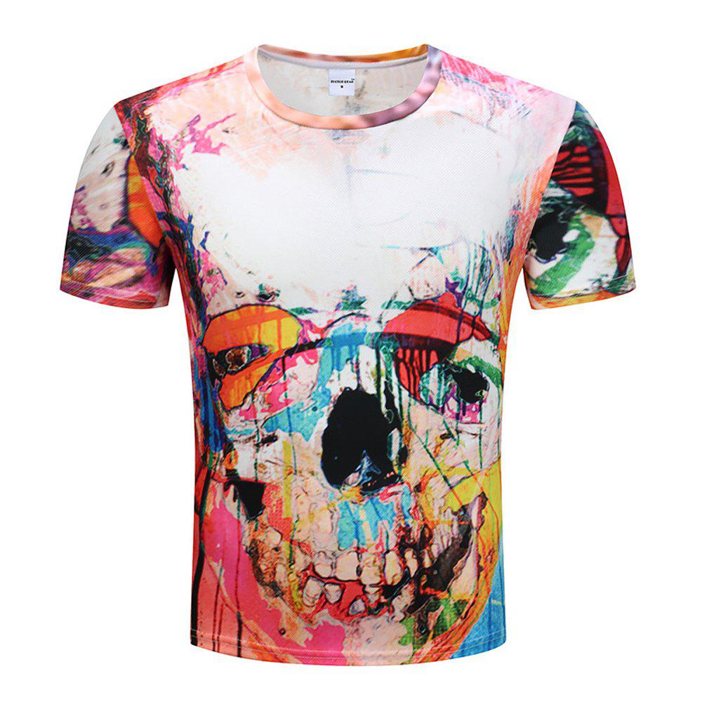3D Printed Short-Sleeved T-shirt - multicolor A 3XL