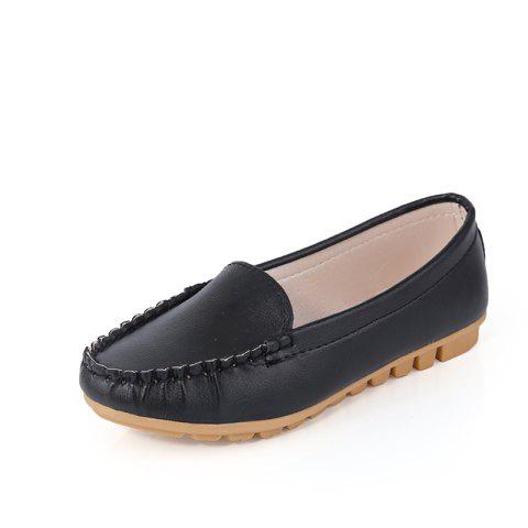Casual Round Shallow Flat Shoes - BLACK 37