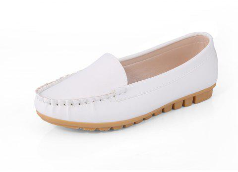 Casual Round Shallow Flat Shoes - WHITE 37