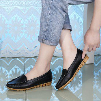 Casual Round Shallow Flat Shoes - BLACK 36