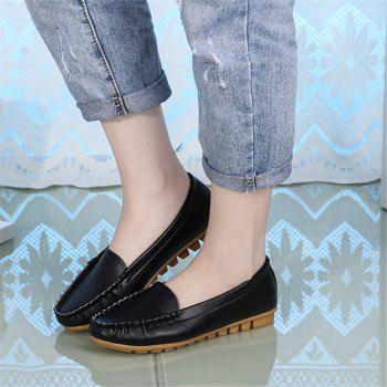Casual Round Shallow Flat Shoes - BLACK 39