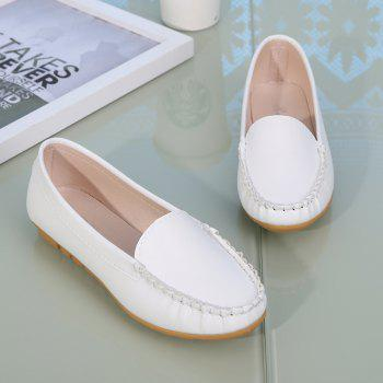 Casual Round Shallow Flat Shoes - WHITE 35