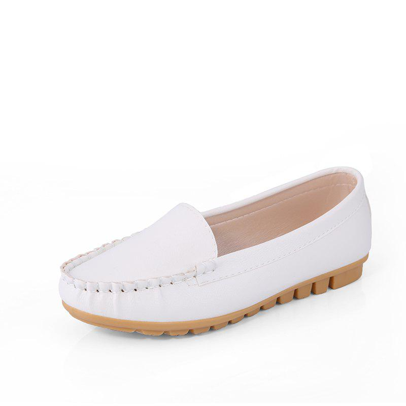 Casual Round Shallow Flat Shoes - WHITE 39