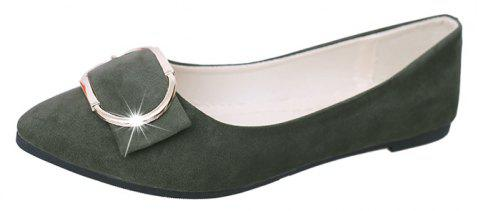 Casual Shallow Mouth Flat Pointed Shoes - ARMY GREEN 37