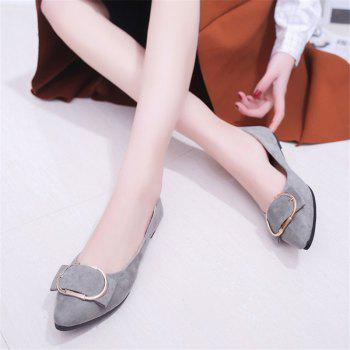 Casual Shallow Mouth Flat Pointed Shoes - GRAY 37