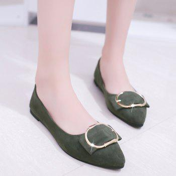 Casual Shallow Mouth Flat Pointed Shoes - ARMY GREEN 36
