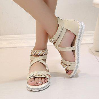 Soft-Soled Flat with Open-Toe Zipper Sandals - WARM WHITE 37