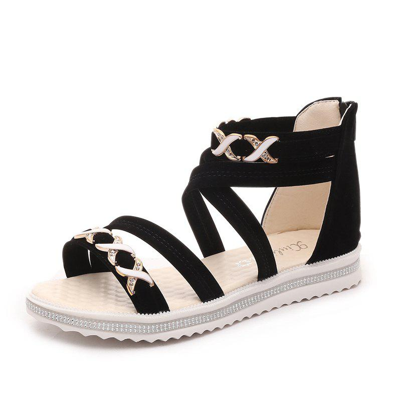 Soft-Soled Flat with Open-Toe Zipper Sandals - BLACK 39