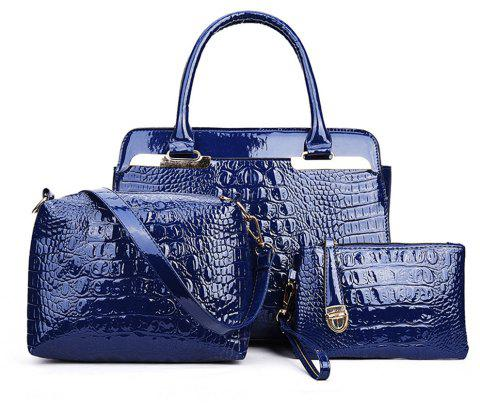 Handbag Leather Korean Tide Day Bright Portable Shoulder - SAPPHIRE BLUE