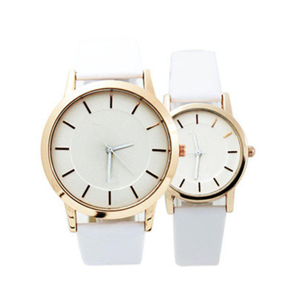 Fashion Popular Casual Quartz Couple Watches - WHITE MALE