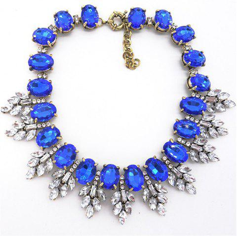European and American Fashion Necklace Leaves Crystal Pendant - BLUE