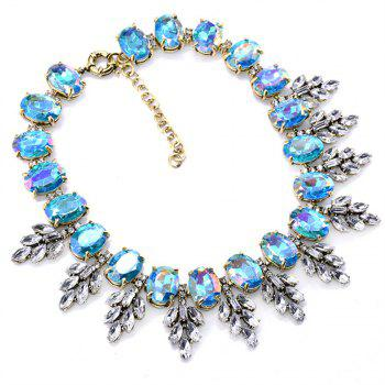 European and American Fashion Necklace Leaves Crystal Pendant - TIFFANY BLUE