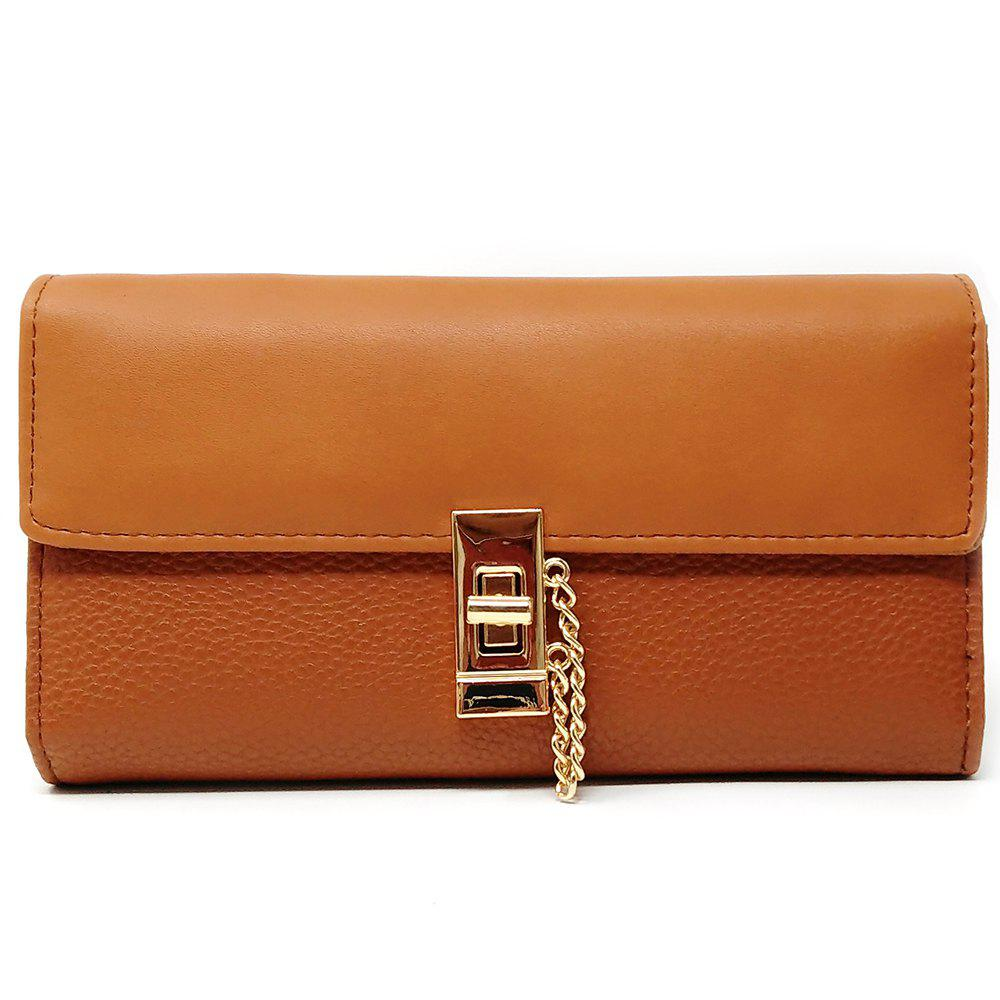 Women's Purse Metal Hasp Design Rectangle Shape Elegant - TAN BROWN