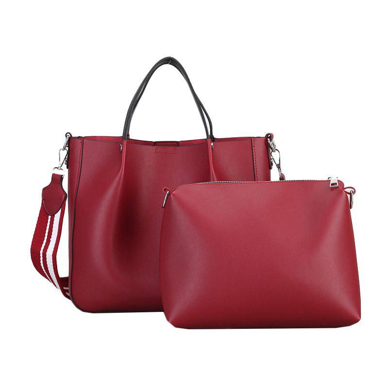 Women Handbag PU Leather Ladies Totes Composite Bag Crossbody Shoulder Bags - RED WINE