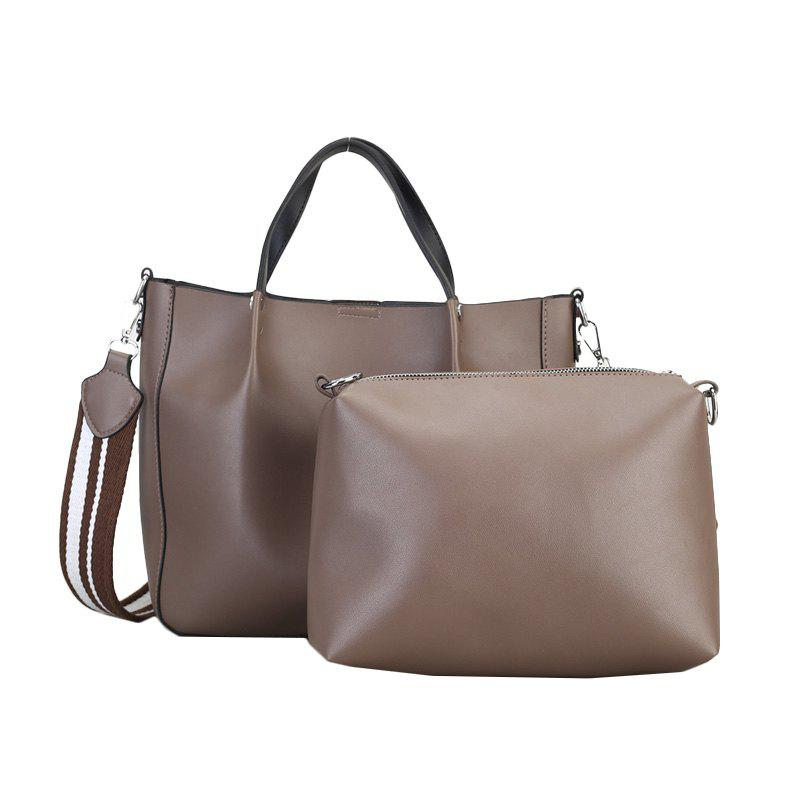 Women Handbag PU Leather Ladies Totes Composite Bag Crossbody Shoulder Bags - APRICOT