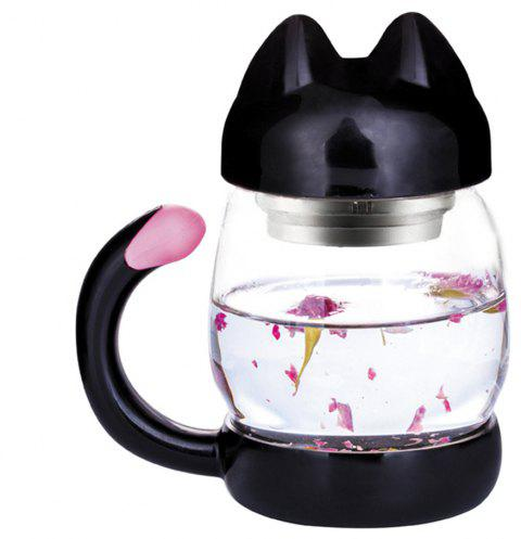 Cute Cat Glass with Filter Coffee Tea Drink Cup 420ML - BLACK