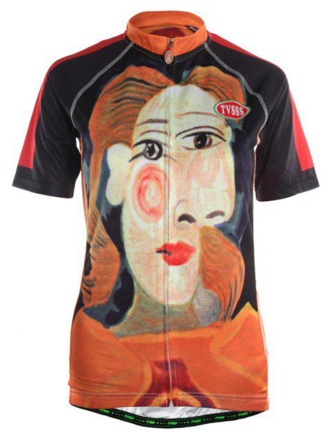 TVSSS Ladies Summer Short Sleeve Lady Pattern Art Design Cycling Sportswear - multicolor M