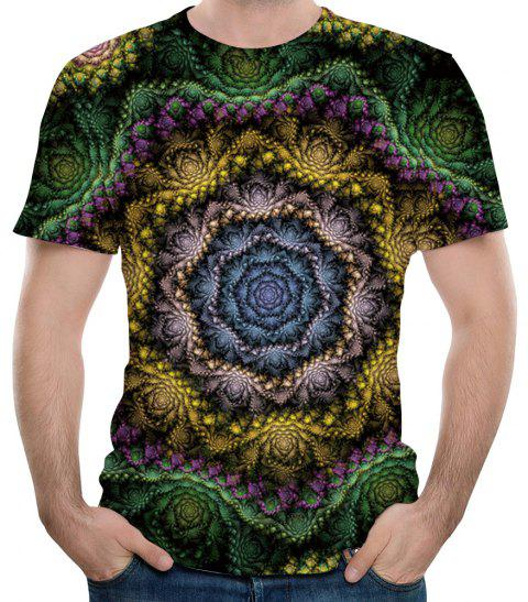 New Fashion 3D Geometric Polygonal Print Men's Round Neck Short Sleeve T-Shirt - MEDIUM FOREST GREEN M
