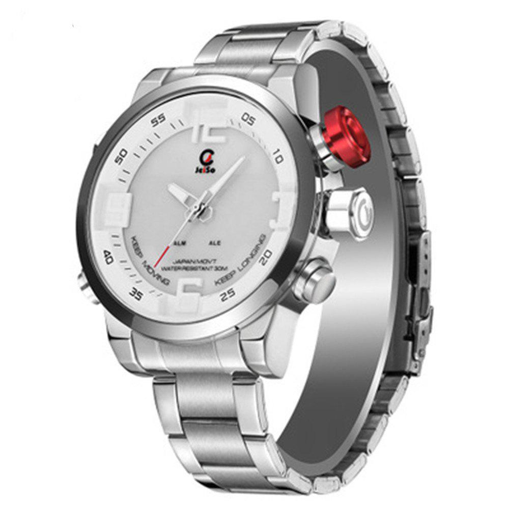 JeiSo Stainless Steel Band Quartz Analog Fashion Sports Wristwatch - SILVER