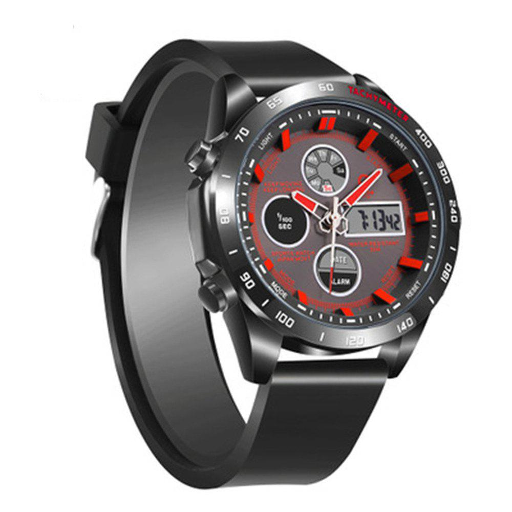 JeiSo Men  Fashion Analog Digital Leather Sports Watches - RED