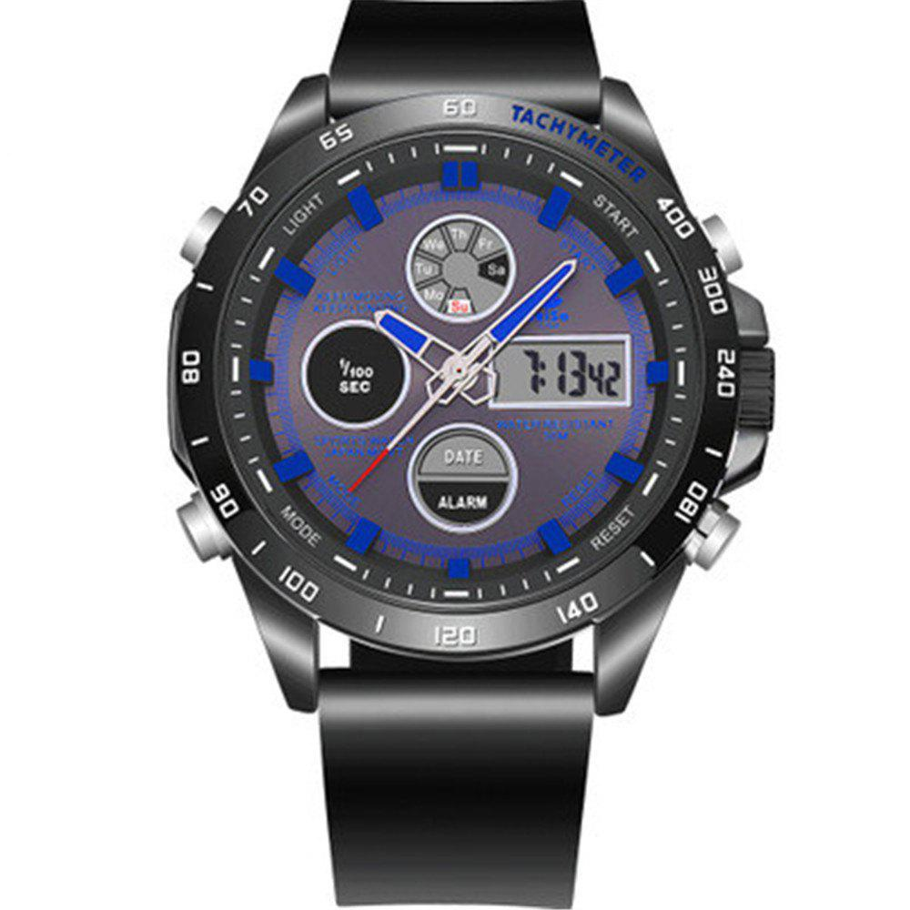 JeiSo Men  Fashion Analog Digital Leather Sports Watches - BLUE