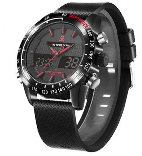 Luxury Brand Men Analog Digital Leather Sports  Watch - RED