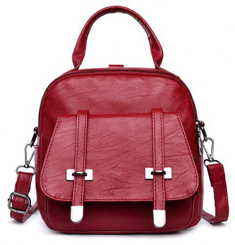 College Wind Mini Backpack New Personality Girls Soft Leather Travel Bag - RED 21 X 8.5 X 20