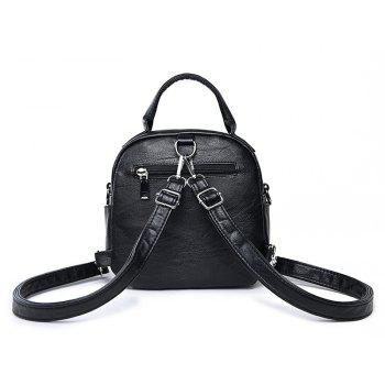 College Wind Mini Backpack New Personality Girls Soft Leather Travel Bag - BLACK 21 X 8.5 X 20